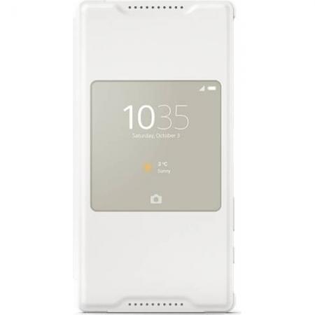 Sony SCR44 Husa piele eco flip s-view - Sony Xperia Z5 Compact, alb