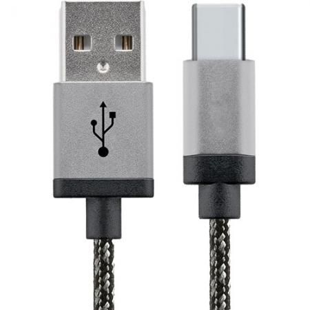 Star Cablu Date USB la USB Tip C, 2M, Aluminiu, Alb-Negru
