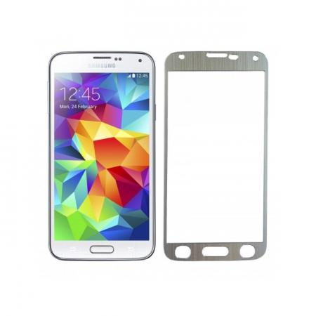 Tempered Glass - folie sticla pentru Samsung Galaxy S5 - aluminiu argintiu