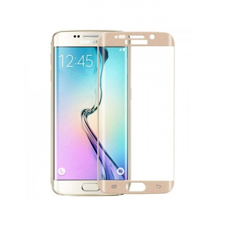 Tempered Glass - folie sticla pentru Samsung Galaxy S6 Edge auriu