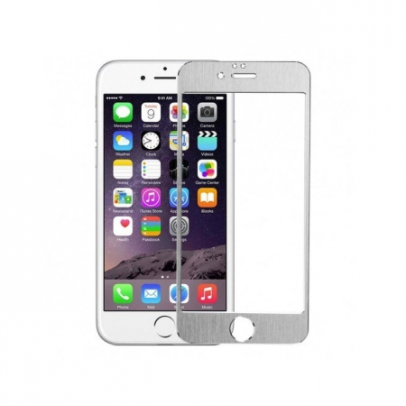 Tempered Glass - folie sticla pentru iPhone 6 Plus - aluminiu argintiu