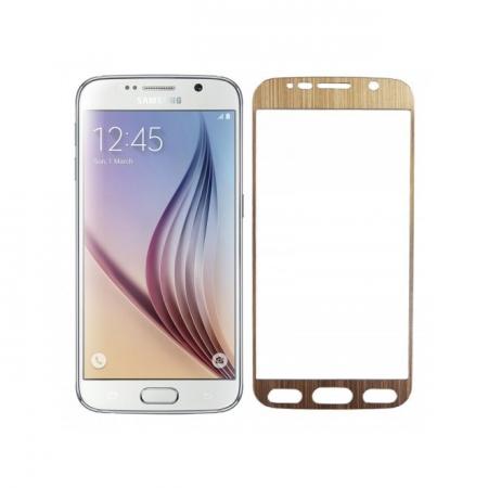 Tempered Glass - folie sticla pentru Samsung Galaxy S6 - aluminiu auriu