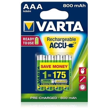 Varta - Acumulatori reincarcabili AAA R3 800 mAh, blister 4 buc.