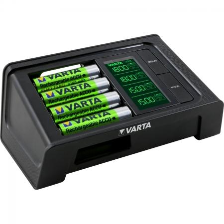 Varta - Incarcator Smart cu LCD 57674 + 4 Acumulator AA R6 2100 mAh