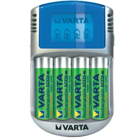 Varta - Incarcator cu LCD 57070 + 4 Acumulatori AA R6 2400 mAh 56756, 12V, USB