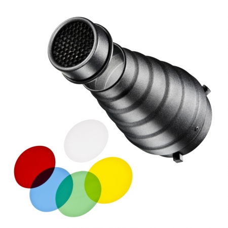 Walimex 12964 - Snoot cu grid si filtre colorate - montura Bowens