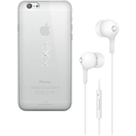 White Diamonds - Husa capac spate + casti in ear pentru Iphone 6 - alb