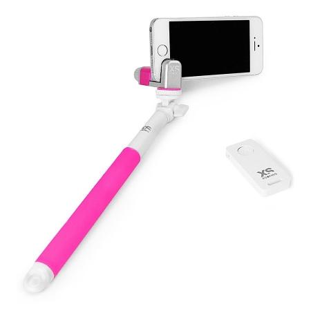 Xsories Me-Shot Deluxe 2.0 - selfie-stick 93cm cu telecomanda, roz/alb