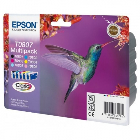 Epson T0807 Claria Photographic Ink - Kit complet cartuse pentru Epson P50/PX730/PX830