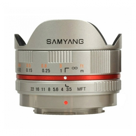 Samyang 7.5mm 1:3.5 UMC Fisheye MFT argintiu - obiectiv fisheye, montura Micro FourThirds