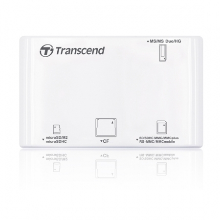 Transcend P8 - card reader USB 2.0 All in One, alb