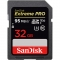 SanDisk Extreme Pro SDHC 32GB, UHS-I, V30, U3,  citire 95MB/s, scriere 90MB/s
