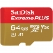 Sandisk Extreme Plus microSDXC, 64GB, UHS-I, 4K, Ultra HD, scriere 90MB/s, citire 95MB/s