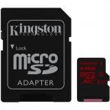 Kingston 64GB microSDXC UHS-I Class U3 90MB/s citire 80MB/s scriere + Adaptor SD